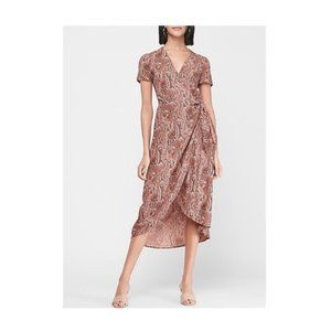 NWT Express Snakeskin Print Wrap Tie Midi Dress